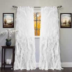 Sheer Voile Ruffled Tier Window Curtain Panel