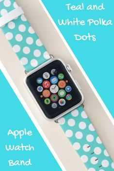 Teal and White Polka Dots Apple Watch Band apple watch bands Apple Watch Bands Mens, Apple Watch Bands Fashion, Best Apple Watch, Apple Watch Series 1, April Rain, Rain Fashion, Apple Fitness, Best Mothers Day Gifts, Sale Promotion