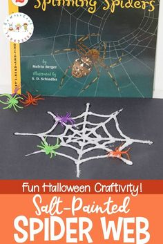 Discover a great nonfiction spider book for kids, a fun salt painted spider web craft, and a spider-themed math printable! Perfect for your October homeschool preschool. Fun Halloween Games, Halloween School Treats, Halloween Activities For Kids, Halloween Party Supplies, Halloween Crafts For Kids, Autumn Activities, Easy Crafts For Kids, Fall Crafts, Learning Activities