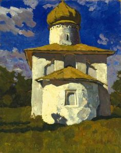 Stozharov, Vladimir Fedrorovich  1926 - 1973 The Church at Pskov Oil on board  64.5 x 51 cm 1970 - See more at: http://www.russianartdealer.com/galleries/russian-art#sthash.2EjqjAZ8.dpuf
