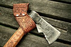 the leather belt sling of a hand forged Dwarven styled axe. Axe head forged from 100 year old leaf spring. handle made from aged maple. Viking Life, Viking Art, Tomahawk Axe, Beil, La Forge, Axe Head, Battle Axe, Norse Vikings, Leather Projects