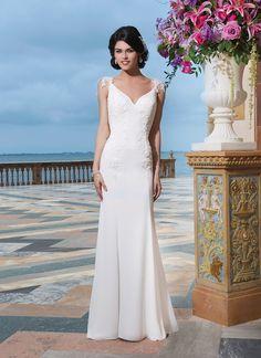 Sincerity wedding dress style 3842 Chiffon, venice lace straight dress with a V-neck