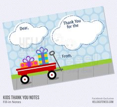 Printable fill-in 4x6 flat note cards - Formerly I was so good about having the kids send thank you notes.