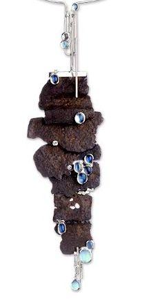 "Thierry Vendome | Collier  ""Pluie collection"". Or blanc, fer rouillé, pierres de lune, diamants.  Necklace:  Rusted steel, white gold, diamonds and moonstones"