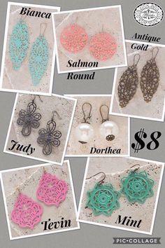 We have over 20 pairs of $8 earrings! Here's a sneak peak. #amandasvintagetouch #directsalesjob #extramoney #plunderdesignjewelry
