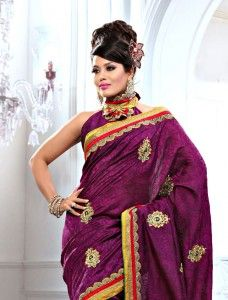 Purple Bhagalpuri Silk and Jacquard Embroidered Patch Work Saree