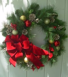 Christmas wreath, Traditional holiday wreath, realistic mixed pine wreath, artificial outdoor winter wreath,pine cone wreath, balsam wreath by DoorDecorShop on Etsy https://www.etsy.com/listing/462547259/christmas-wreath-traditional-holiday