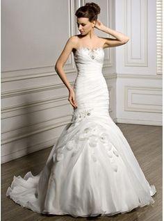 Trumpet/Mermaid Sweetheart Court Train Organza Wedding Dress With Ruffle Beading Flower(s) Sequins (002056964) - JJsHouse