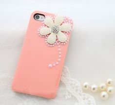 Pearl Flower Hard Plastic Case for Iphone4 4s - Apple Accessories - Funny Gadgets Free shipping