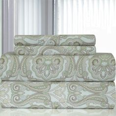Pointehaven Heavy Weight Paisley Printed Flannel Sheet Set Size: