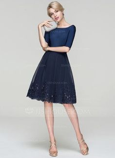 A-Line/Princess Scoop Neck Knee-Length Sequins Zipper Up Sleeves 1/2 Sleeves No Dark Navy Spring Summer Fall General Plus Tulle Cocktail Dress