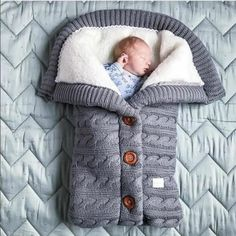 Baby Sleeping Bag Envelope Winter Kids Sleepsack Footmuff For Stroller Knitted Sleep Sack Newborn Swaddle Knit Wool Slaapzak Swaddle Wrap, Baby Swaddle Blankets, Knitted Baby Blankets, Receiving Blankets, Toddler Sleeping Bag, Newborn Sleeping Bag, Sleeping Bags, Pull Bebe, Toddler Blanket