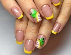 Summer French nails – trends and nail art ideas for the vacation season Summer French Nails, French Tip Nails, Spring Nails, Summer Nails, Ongles Gel French, Lemon Nails, Teal Pumpkin Project, Manicure, Rose Leslie