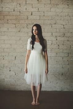 Ivory Ballerina Half Sleeve Low Cut Back Tea Length Geometric Lace and Tulle Party Dress - Jasmin by Ouma