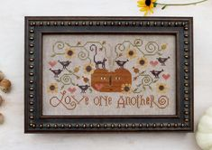 cross stitch patterns : Love One Another Plum Street Samplers Paulette Stewart Autumn pumpkin counted hand embroidery