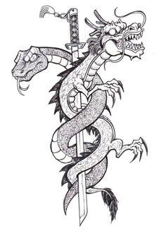 Coloriage adulte Tatouages : Tatouage dragon 3