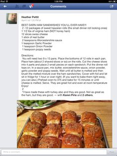 """Best Ham Sandwiches. These are baked with a """"sauce""""  poured over them."""