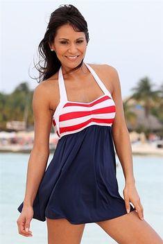 Sailor Girl Halter Top Swim Dress
