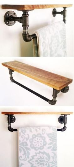 Reclaimed Wood & Pipe Book Shelf under kids photos in the bathroom