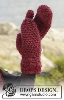 "Cozy Crimson Mittens - Crochet DROPS mittens with broomstick lace in ""Eskimo"". - Free pattern by DROPS Design"