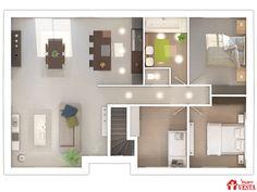 Maisons VESTA :  plan du rez-de-chaussée du modèle Havana.  90m² + 98 m² surface annexe. Type F5. Bathroom Lighting, House Plans, Dreams, How To Plan, Mirror, Architecture, Inspiration, Furniture, Home Decor