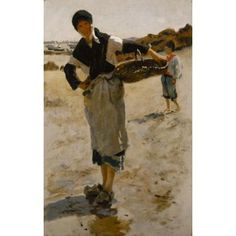 """""""Breton Woman with a Basket,"""" Sketch for """"Oyster Gatherers of Cancale,"""" John Singer Sargent, 1877, oil on canvas, 18 1/2 x 11 3/4"""", Terra Foundation for American Art."""