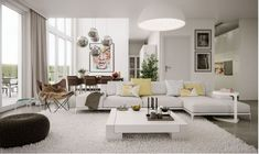 Stunning modern living room with white shag rug.  See more on HG Design Ideas: https://www.homeandgardendesignideas.com/ideas/stunning-living-room-in-white-that-sets-up-the-2017-mood-86343 #ModernLivingRoom #ShagRug #WhiteLivingRoom  #SpaciousLivingRoom #Contemporary #HomeDesign #HomeWhiteAccents