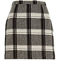 Black check mini skirt