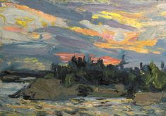 Tom Thomson Catalogue Raisonné | Sunset, Canoe Lake, Fall 1915 (1915.129) | Catalogue entry