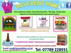Looking for entertainment for your special event then look no further - A reliable friendly service that will professionally cater for your needs. We have wide a selection of equipment available for hire Bouncy castles, for adults and children . We have a selection of machines Candy floss, Candy cart, Popcorn, Hot dogs, Ice cream, Slush machine, Chocolate fountain, Crepe stand, Kids Entertainment  and Photo booth hire Kent great for catering any event.  http://www.rjseventhire.co.uk/photo-b