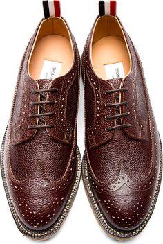 Thom Browne: Brown Pebbled Leather Longwing Brogues