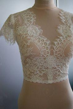 SALE  Wedding bolero-top-jacket with lacealencon by TIFFARY