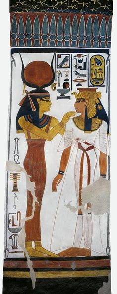 Egypt, Thebes (UNESCO World Heritage List, 1979) - Luxor - Valley of the Queens. Tomb of Nefertari. Burial chamber. Mural paintings. Hathor and queen (Dynasty 19, Ramses II, 1290-1224 BC) Digital reconstruction (QV66 - 333389)