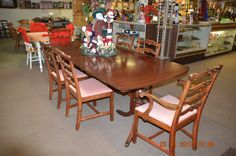 Mahogany Table,leaves and 2 arm chairs &  4 side chairs