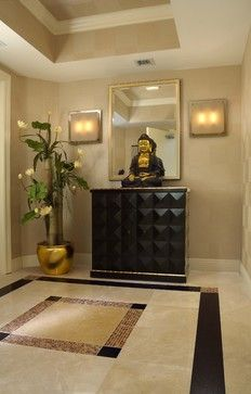 Eclectic Entry. Black, gold and Buddha