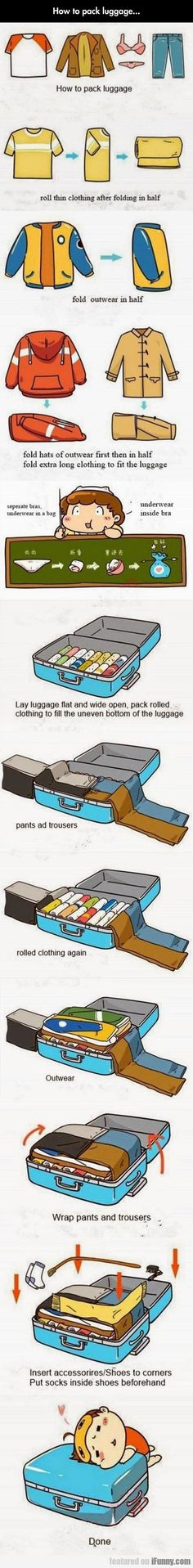Funny pictures about Learn How To Pack Luggage Properly. Oh, and cool pics about Learn How To Pack Luggage Properly. Also, Learn How To Pack Luggage Properly photos. Packing Tips, Travel Packing, Travel Tips, Luggage Packing, Smart Packing, Travel Outfits, Travel Fashion, Man Fashion, Travel Hacks