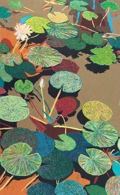 "Allan P Friedlander; Oil Pastel, Painting ""Catfish Corner"""