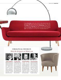 Contemporary Cherry Red sofa.