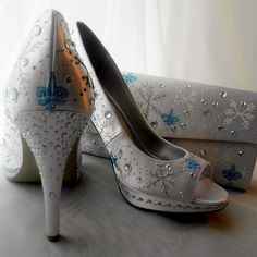 if Valerie gets married in winter! Wedding Shoes and purse painted SNOWFLAKES!!!! Fleur de by norakaren