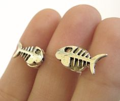 Silver Fish Bone Geekery Weird Cufflinks Gift by SpotLightJewelry, $19.95