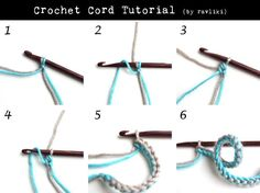 How to crochet a two color cord - then use it to knit, crochet or weave something Crochet I Cord, Crochet Bracelet, Crochet Chart, Love Crochet, Learn To Crochet, Irish Crochet, Crochet Motif, Diy Crochet, Crochet Flowers
