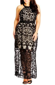 City Chic 'Burnout Baby' Maxi Dress (Plus Size) available at #Nordstrom