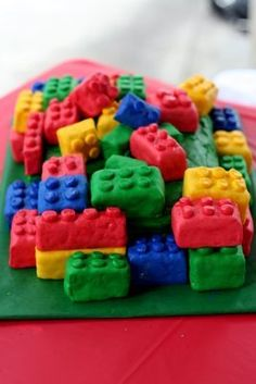 Lego cake- Rice Krispy treats and a regular cake