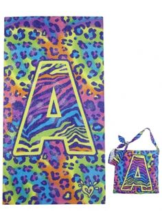Animal Print Initial Beach Towel with Tote- A