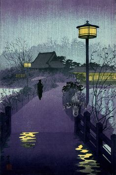 taishou-kun:  Kasamatsu Shiro 笠松紫浪 (1898-1991)Rainy evening at Shinobazu pond 不忍池, Tokyo - Japan - 1938