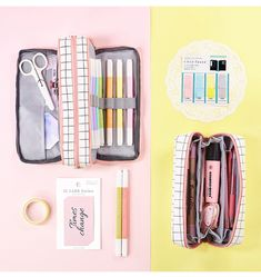 Aesthetic Check Pencil Cases - Aesthetic Check Pencil Cases – NotebookTherapy - Diy and crafts interests Cute Pencil Case, School Pencil Case, Pencil Cases, Middle School Supplies, Diy School Supplies, Stationary School, School Stationery, Schul Survival Kits, School Accessories
