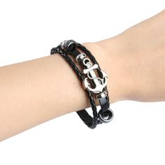 Studded Leather, Anchor, Unisex, Steel, Free Shipping, Bracelets, Holiday, Shop, Silver