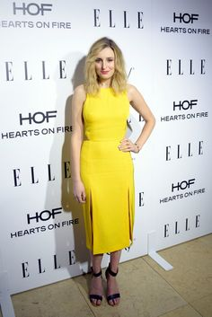 Laura Carmichael in a bold yellow dress at the ELLE Women in Television Celebration