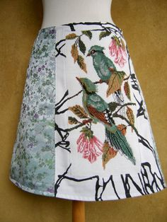 Bornean Green Magpie embroidery skirt, A-line skirt, chinoiserie, lined, cotton…