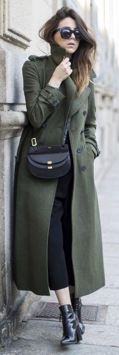 Nicoletta Reggio + khaki army-style maxi coat + black culottes + ankle boots + cool and casual look Coat: Asos, T-shirt: Zara, Trousers: Balenciaga, Bag: Chloe, Shoes: Sarenza.